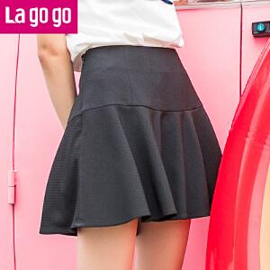 Lagogo拉谷谷2017夏季新款百搭高腰裙纯色半身裙女黑色a字短裙