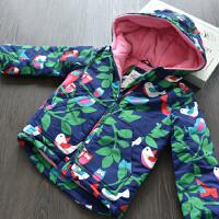女童冬季夹棉连帽风衣 儿童加厚冲锋衣 宝宝加绒棉衣 130cm 标6-7