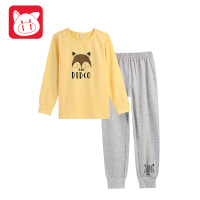 【3件5.5折】小猪班纳童装儿童家居服2018秋冬男孩长袖睡衣套装男童内衣两件套