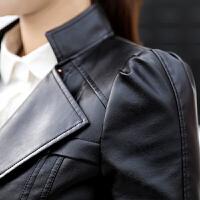 韩版短款pu皮衣小外套2017春秋长袖修身显瘦机车皮夹克女装潮