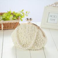 9新款韩版串珠珍珠链条包手提包晚宴包手袋斜挎包肩包 图片色