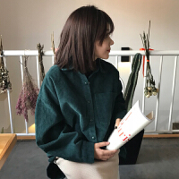原宿风复古纯色衬衫女中长款韩版新款春季宽松加厚灯芯绒衬衣外套
