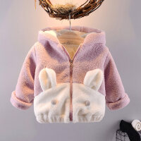 小女童棉衣1-3岁婴儿加绒加厚冬儿童棉袄童装2女宝宝冬装外套 粉