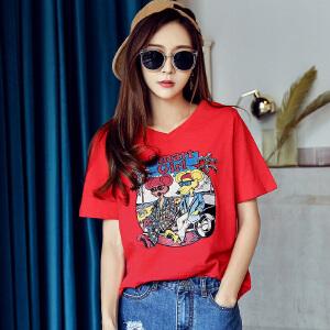 【1件3折:51.9元】韩都衣舍2019夏装新款女装韩版全棉V领卡通印花短袖T恤NJ7020�S