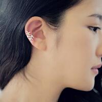 欧丁韩国叶子耳骨夹女925纯银无耳洞耳钉耳环百搭银饰品H049