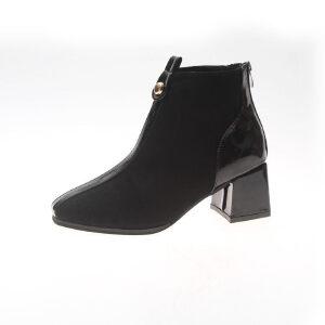 WARORWAR新品YM151-S767秋冬韩版粗跟低跟女士靴子切尔西靴短靴