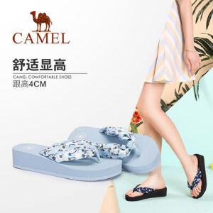 Camel/骆驼女鞋 夏季新品舒适时尚休闲厚底织物人字带人字拖