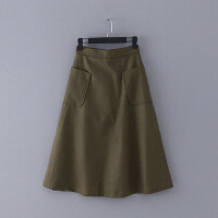 734 女装 冬季新款纯色修身高腰女式半身裙毛呢裙子中长裙