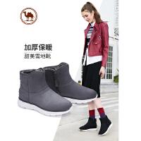 骆驼牌女靴 冬新款加绒雪地靴加厚保暖平底短靴防滑平跟女鞋