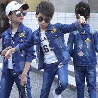 韩版童装2018儿童牛仔秋季新款男童女童牛仔套装中大童时尚两件套