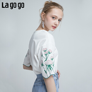 Lagogo2018夏季新款时尚仙女白色t恤女夏装小清新 五分袖上衣女HATT314M06
