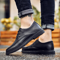 英伦小皮鞋男黑色正装韩版秋季商务休闲内增高百搭青年潮流加绒鞋