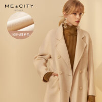 【2件1.5折�r:300,可�B券】�羊毛MECITY女�b�p面呢外套中�L款大衣