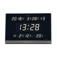 led万年历电子钟挂钟客厅日历钟表电子表静音夜光挂钟 黑色 17英寸