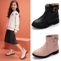 女童短靴真皮公主靴2018新款秋冬韩版可爱时装靴中大童女童鞋靴子