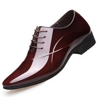 男鞋秋季男士商务正装皮鞋真皮透气漆皮内增高鞋结婚鞋8cm