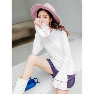 七格格撞色长袖t恤女荷叶边早秋装2018新款韩版学生修身显瘦上衣
