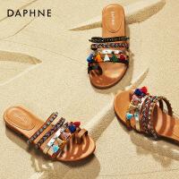 Daphne/达芙妮2018夏季新款低跟拼色拼接民族风休闲凉鞋女拖鞋