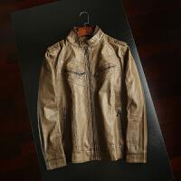 复古立领仿皮外套 男装 秋季新品男士时尚连帽pu皮衣夹克外套 浅棕色