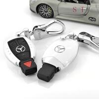 奔驰钥匙包GLC260C级C200L车钥匙套壳女男GLA200S级新E级扣