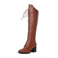 靴子女秋季2018新款百搭真皮马丁靴长筒靴过膝长靴子女粗跟瘦瘦靴软底 黑色 绒里