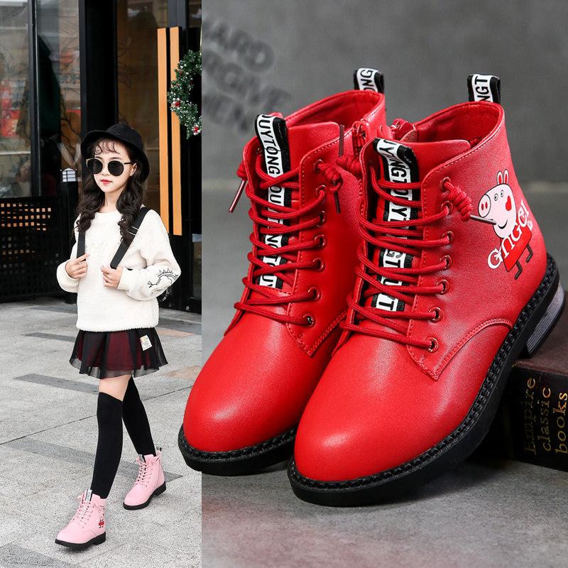 女童靴子秋冬季短靴2018新款雪地棉鞋冬款加绒大童马丁儿童鞋真皮