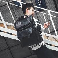 2018新款双肩包男时尚潮流个性高中学生书包韩版百搭情侣背包 升级版PU皮 带充电口+耳机线
