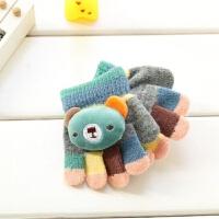 3-6-12个月婴儿五指手套韩版卡通小宝宝半指手套1岁幼儿保暖手套xx 灰色 小熊