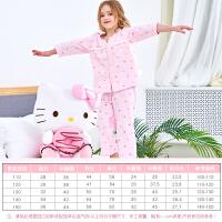 儿童家居服套装夏季女棉开襟7分袖女孩睡衣宝宝空调服
