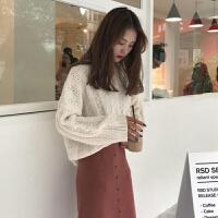 春装新款韩版宽松显瘦长袖针织衫毛衣+高腰开叉半身裙时尚套装女