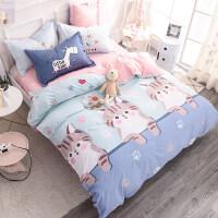 全棉�棉�和�床上用品三四件套男孩女孩卡通床�伪惶�1.2米4宿舍人