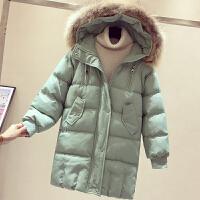 中长款大毛领连帽羽绒棉衣女冬装新款保暖宽松棉袄面包服外套