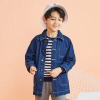 【2件2.5折到手价:80】美特斯邦威旗下moomoo童装儿童牛仔外套男童新款秋装韩版纯棉中大童风衣
