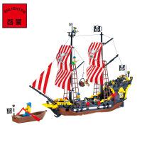 启蒙积木小颗粒拼插模型男孩礼物儿童益智玩具海盗系列黑珍珠308 启蒙儿童玩具船塑料拼装积木式拼插益智加勒比海盗船模型