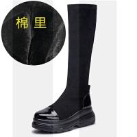 网红靴子女秋冬瘦瘦靴2018新款厚底内增高弹力长筒靴高筒靴女加绒SN7575 黑色加绒 加绒