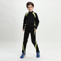子装儿童足球训练服长袖套装男童春秋冬季足球服小学生足球队服 5523款 黑配荧光绿