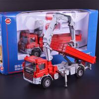 儿童玩具合金工程车模型随车起重运输车吊车仿真小汽车模男孩玩具 随车吊运输车 红625024+