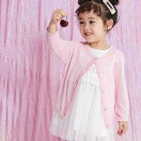 【1件2.5折到手价:33.8】moomoo童装2019新款女幼童针织开衫