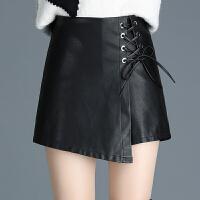 皮短裤裙秋冬新款韩版系带不规则包臀皮裙裤大码百搭靴裤子潮