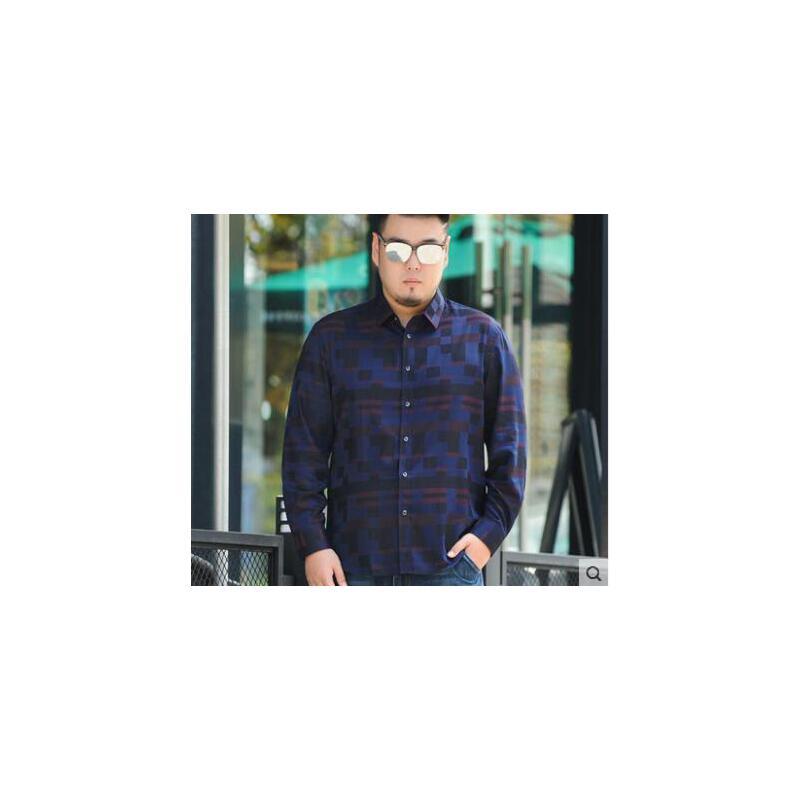 显瘦大气印花胖子长袖衬衫大码男装衬衣宽松加肥加大中老年男士商务休闲 品质保证,支持货到付款 ,售后无忧