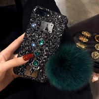 苹果7plus手机壳奢华闪粉iPhone6s套个性X链欧美大气8p毛球女