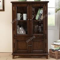 ZUCZUG美式家具美式乡村双门边柜实木酒柜欧式储物柜简约大立柜书柜 双门