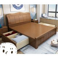 新中式实木床1.8米双人简约现代1.5m经济型气压高箱储物卧室家具 +床头柜*2+普通乳胶 1800mm*2000mm