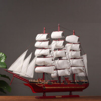 一帆风顺帆船模型摆件仿真实木船家居客厅房间装饰品创意工艺品