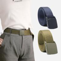 运动裤腰带男女士用帆布皮带速干免打孔自动扣