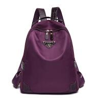 防水新款紫色牛津布旅行背包女韩版学院尼龙百搭休闲妈咪背女包