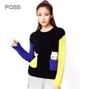 PASS冬装新款彩色拼色撞色拼接学生毛衣女宽松套头针织衫潮