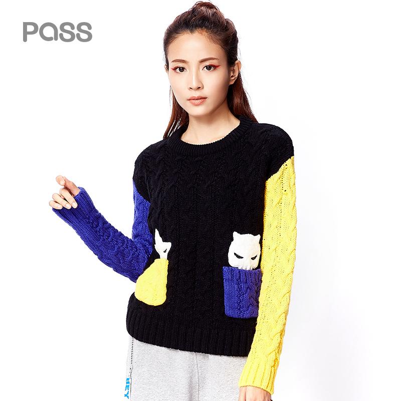 【不退不换】PASS冬装新款彩色拼色撞色拼接学生毛衣女宽松套头针织衫潮