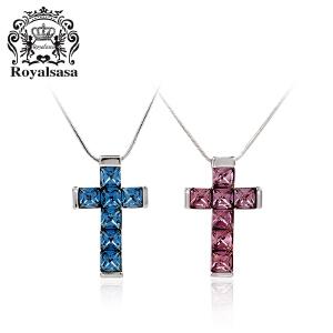 皇家莎莎情侣项链仿水晶吊坠情人节礼物十字架护佑-比翼双飞