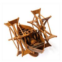 RECESKY 达芬奇手稿复刻拼装模型高速脚踏桨船 创意益智亲子玩具
